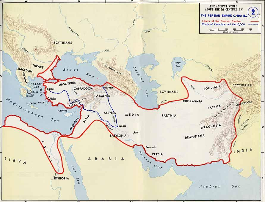 Ancient Greece Map Persian Empire.Greek And Roman Historians